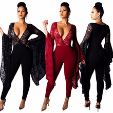 5e4f59212790 Lace Flare Long Sleeve Jumpsuits Black Lace Deep V Neck Jumpsuit Women Sexy  One Piece Club