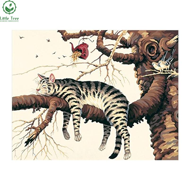 Animal series Sleep cat on the tree Diy diamond painting canvas needlework on sale home decoration full rhinestone embroidery
