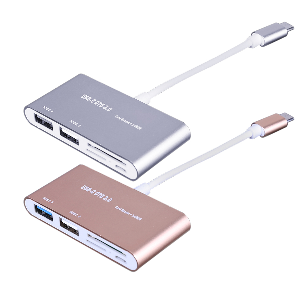 Hot Gold/ Silver USB 3.1 Type C to USB 3.0 HUB SD TF Memory Card Reader OTG Adapter USB Type C to USB 3.0 HUB for Phone Tablet 3 in 1 usb c card reader type c to cf sd tf card readers for macbook phone and usb c devices super speed usb c 3 0 otg