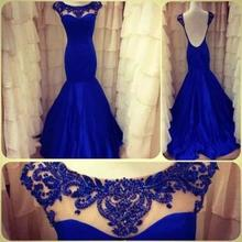 Actual Images 2014 Backless Royal Blue High Neck Beading See Through Long Mermaid Formal Evening Dress Prom Pageant Gowns