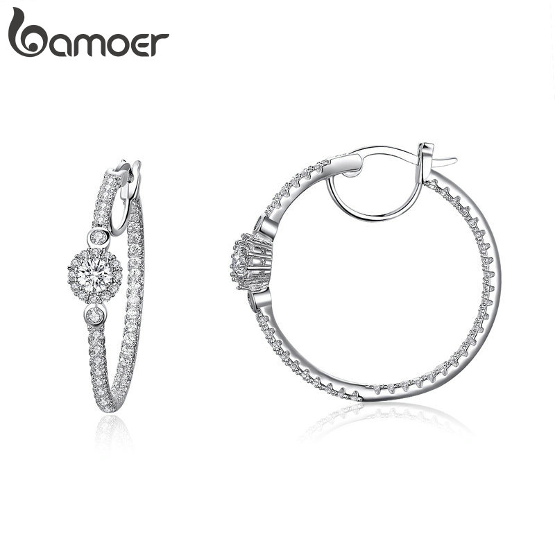 BAMOER New Arrival Silver Color Hyperbole Big Round Circle Clear CZ Cubic Zircon Stud Earrings for Women Jewelry YIE137BAMOER New Arrival Silver Color Hyperbole Big Round Circle Clear CZ Cubic Zircon Stud Earrings for Women Jewelry YIE137