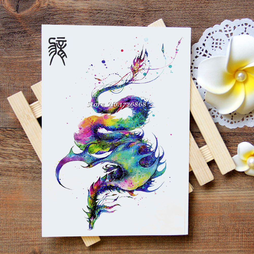 Waterproof Temporary Tattoos Stickers Dragon Arm Tattoo Flash Water Transfer Tattoos Fake Tattoos For Women Men #617