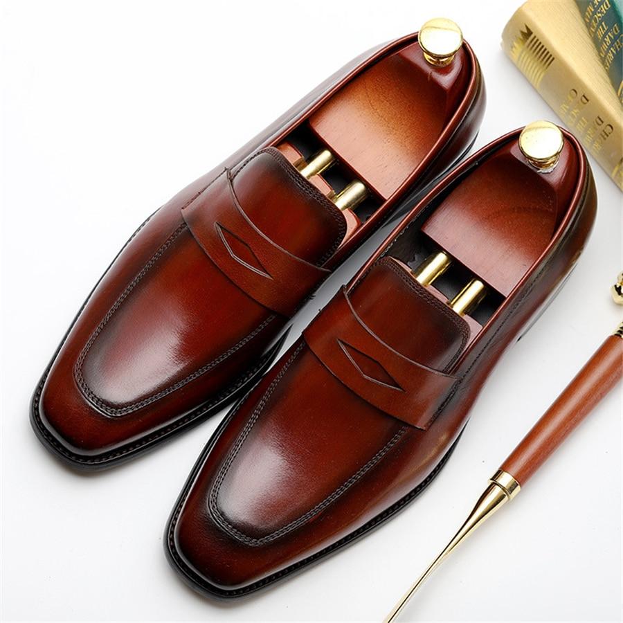Mens formal shoes leather men dress oxford shoes for men dressing wedding business office shoes slip on male zapatos de hombre