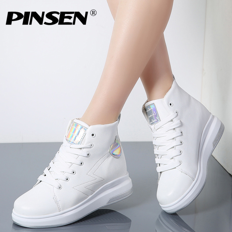 PINSEN 2018 Spring Platform White Shoes Women Sneakers High Quality Leather Lace up Flats Shoes Woman Thick Heel Creepers Shoes xiaying smile woman sneakers shoes women flats spring summer thick sole embroider rose lace up black white student women shoes
