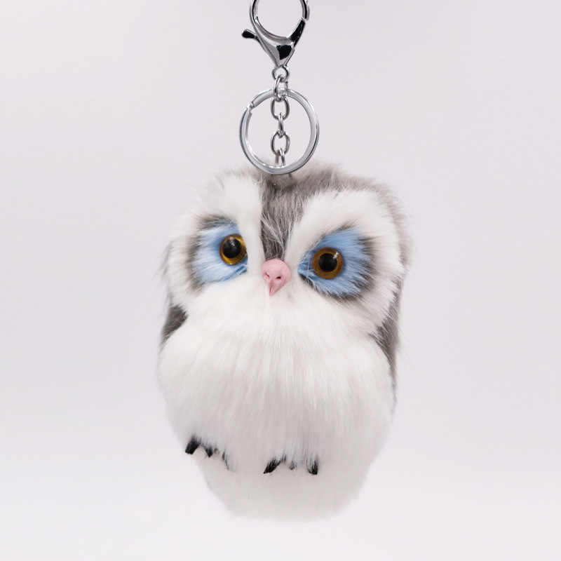 Cute Fluffy Owl Female Keychain Holder Faux Bunny Rabbit Fur Pompoms Key Chains For Charm Gifts Women Key Ring Accessaries D15