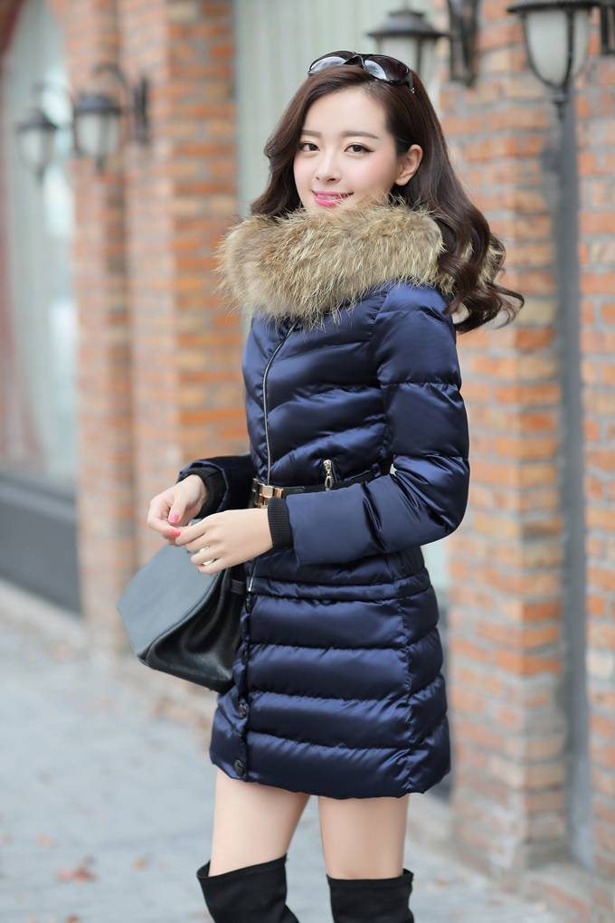2014 Hot Selling Women Winter Fashion Long Slim Thick Big Fur Collar Hooded Pockets Size Cotton-Padded Casual Jacket LJ1118