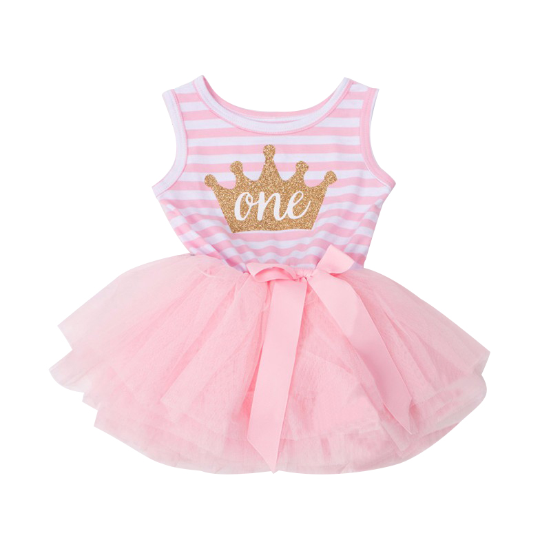 Casual Pageant Wedding Christening Newborn Dress Crown Pattern First Year Birthday Party Dress For Infant Newborn Baptism Gowns