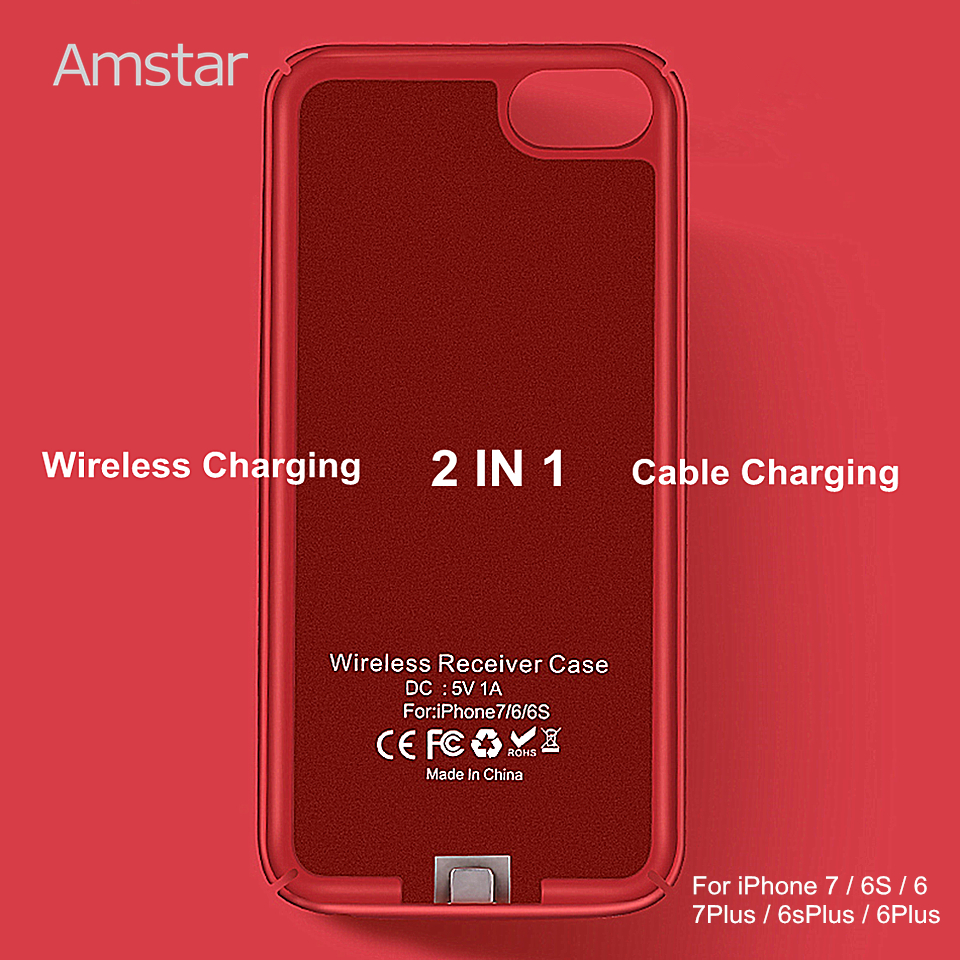 Amstar Wireless Charger Receiver Case Cover Qi Wireless Charging Transmitter Cover Qi Receiver Phone Case for iphone 7 6S 6 Plus