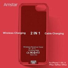 Amstar bezprzewodowy odbiornik ładowarki skrzynki pokrywa Qi bezprzewodowy nadajnik ładujący pokrywa odbiornik Qi etui na telefon dla iphone 7 6S 6 Plus