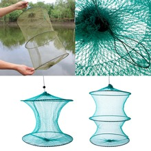 Folding Round Metal Frame Nylon Mesh Crab Crawdad Shrimp Minnow Bait Trap Cast Fish Net Fishing Landing Tackle accessory tool