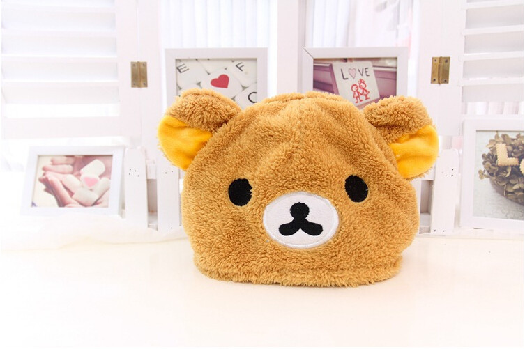 6 PCS NEW Christmas WINTER Beanies cartoon Furry PLUSH Soft Cartoon Rilakkuma Bear Plush Hat, Fashion XMAS Gift