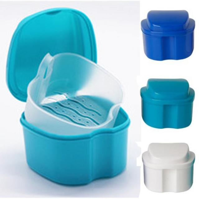 Denture Bath Box Case Dental False Teeth Storage Box Container