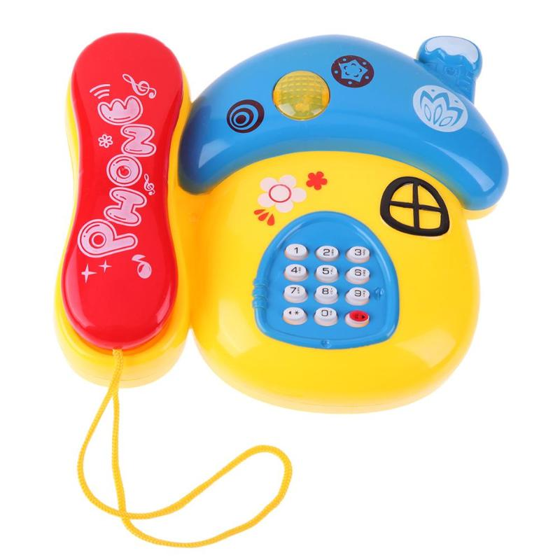 Mushroom Plastic Telephone Toy Kids Early Education Gift With Music Light Cute Phone Toys Baby Toys