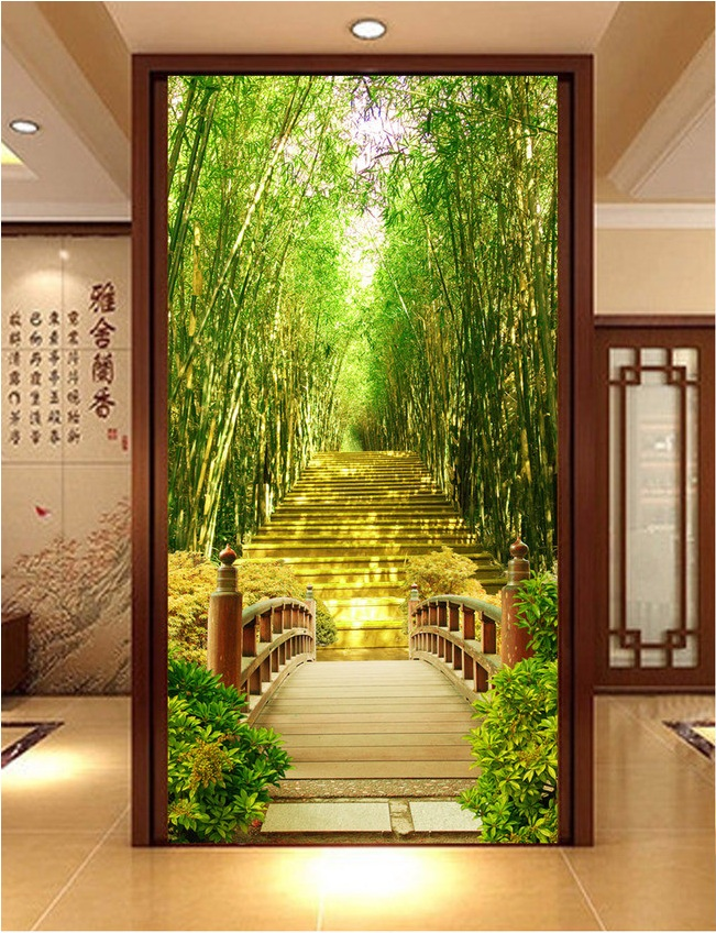 3d room wallpaper custom mural non-woven Wall sticker 3d Bamboo bridge corridor porch painting photo wallpaper for walls 3d free shipping european corridor wall painting background wallpaper hawaii non woven wallpaper mural