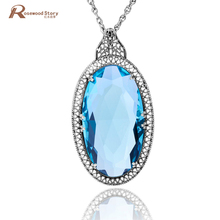Vintage Large Pendant Handmade Big Lab Topaz Stone Real 925 Sterling Silver Statement Necklace Women Nepal Silver Slavic Jewelry