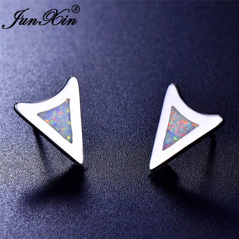 JUNXIN White Blue Fire Opal Earrings For Women Men Silver Color Triangle Stud Earrings Female Male Wedding Studs
