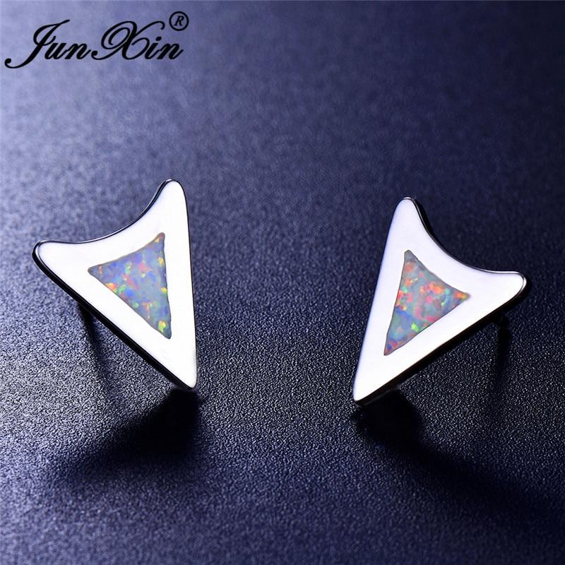JUNXIN White Blue Fire Opal Earrings For Women Men Silver Color Triangle Stud Earrings Female Male Wedding Studs