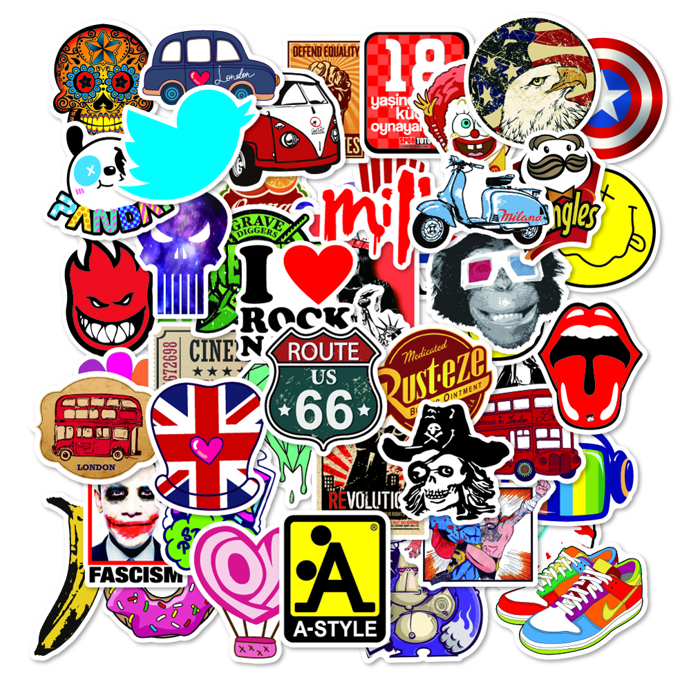 50pcs/pack Laptop Stickers Brand Logo Graffiti Stickers For Car Moto Suitcase Waterproof Cool Car Stickers Skateboard Sticker