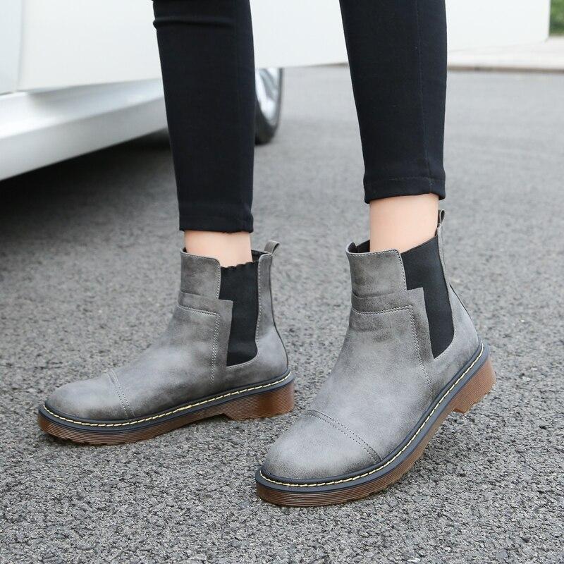 c35818507 Cuero Otoño Impermeable Amarillo Tamaño Negro Mujer Gris Cortas 11 Plataforma  Zapatos Botas Invierno gris Pisos ...