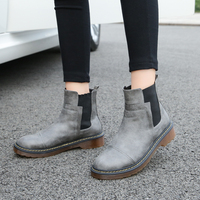 Leather Pu Boots Women Short Boots Waterproof Platform Shoes Size 11 43 Flats Autumn Female Yellow Rock Boots Grey Winter Shoes