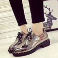 European Style Spring Retro Rhinestone Women Flats Sliver Women Patent Leather Women Flat Platform Shoes G88 35