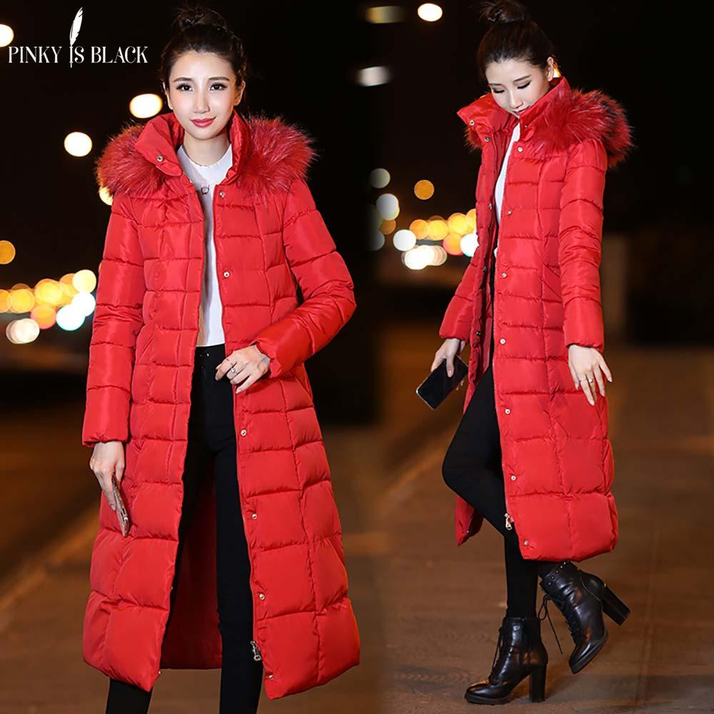 f74815788e8455 Grande army Épais rouge Hiver Fourrure Femelle Longue Outwear Coton ...