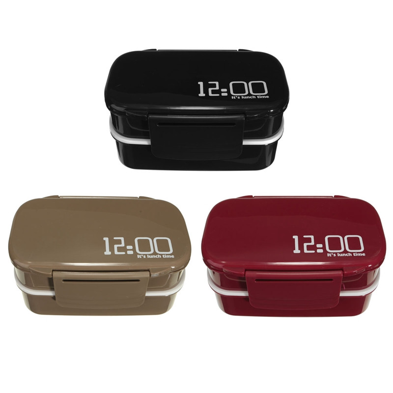 Fun Life 12:00 It's Lunch Time Double Tier Japan Style Bento LunchBox Large Meal Box Tableware Microwave Dinnerware Set 3 Color