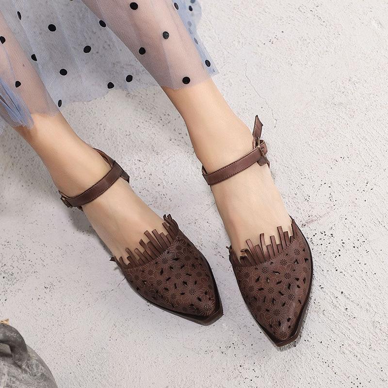 2019 VALLU ใหม่มาถึงผู้หญิง Retro สไตล์รองเท้าแตะเลดี้หนังแท้ Retro โลหะหัวเข็มขัดรองเท้าผู้หญิงรองเท้าส้นสูงรองเท้า-ใน รองเท้าส้นสูงปานกลาง จาก รองเท้า บน   1