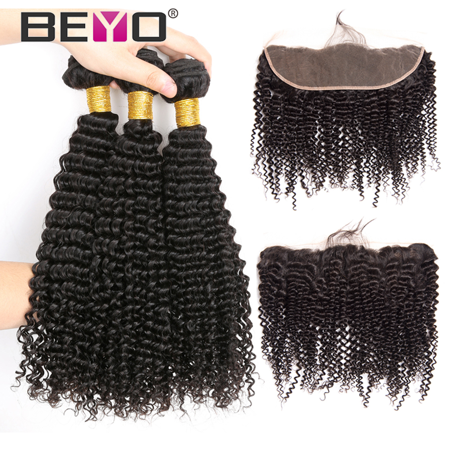 Beyo Peruvian Kinky Curly Bundles With Frontal Human Hair 3 Bundles With Closure 13 4 Lace
