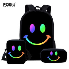FORUDESIGNS 3 Set Girls School Bag Smiley Face Print Children Kawaii Canvas Kids Backpack Male Women Book Bags SAC A DOC