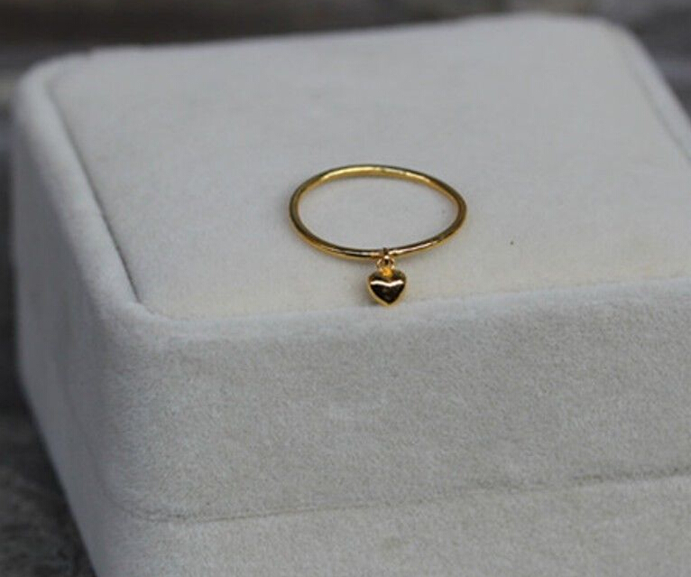 Authentic 999 Solid 24K Yellow Gold Ring /Lucky Smooth Heart Ring 999 solid 24k yellow gold ring bless men