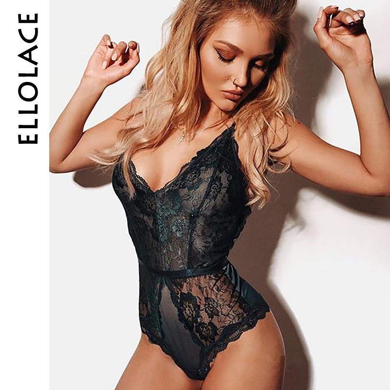 Ellolace Fashion Lace Bodysuit Patchwork Deep-V Neck Body Women Mesh Embroidery Hollow Out Overalls Female Skinny Bodysuits
