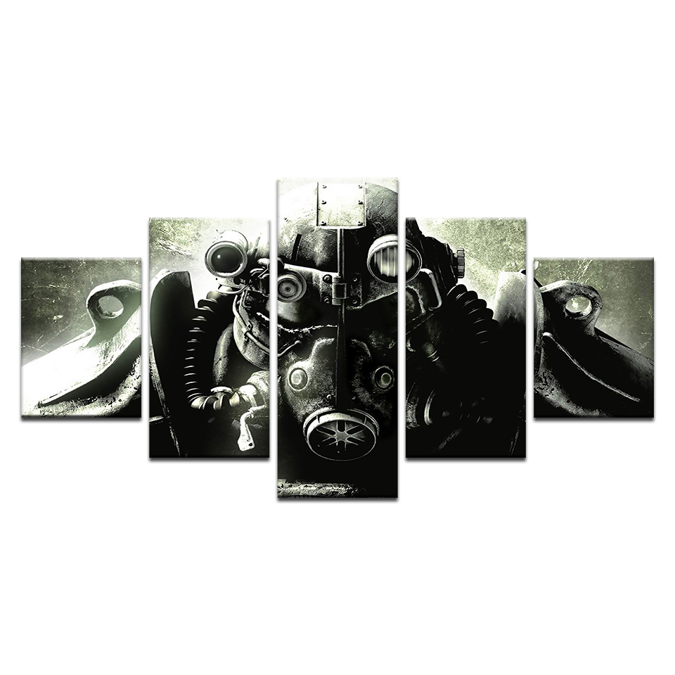 5 Piece Modular Fallout 4 Soldier Armor Art Poster Canvas Print Home Decor Wall Art Poster Living Room Canvas Painting Artwork