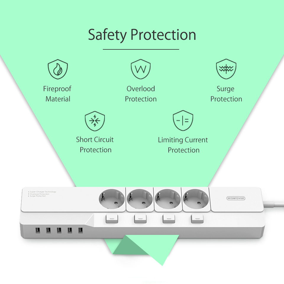NTONPOWER EU Plug USB Power Socket Surge Protection (20)