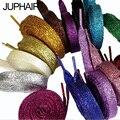 JUP 8 Pair Length 110cm Neuter Shoes Multi Colored Lace Shoes Wholesale New Fashion Sneaker Laces Gold Silver Flat Shoes Laces