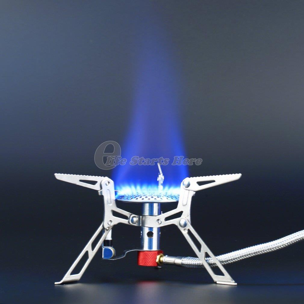Ultralight Dpower Aluminum Alloy Stainless Steel Outdoor Burn Camping Gas Stove Gas powered Stoves with Piezo Ignition Hiking