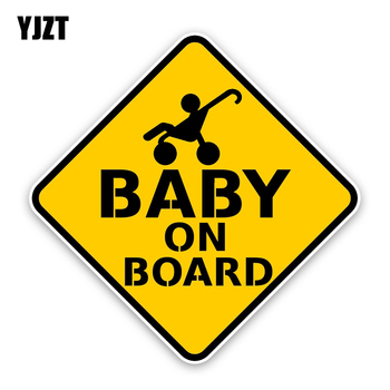 YJZT 15.3*15.3CM Interesting Car Sticker Cartoon High Quality Graphic Sitting In A Chair BABY ON BOARD C1-5559 image