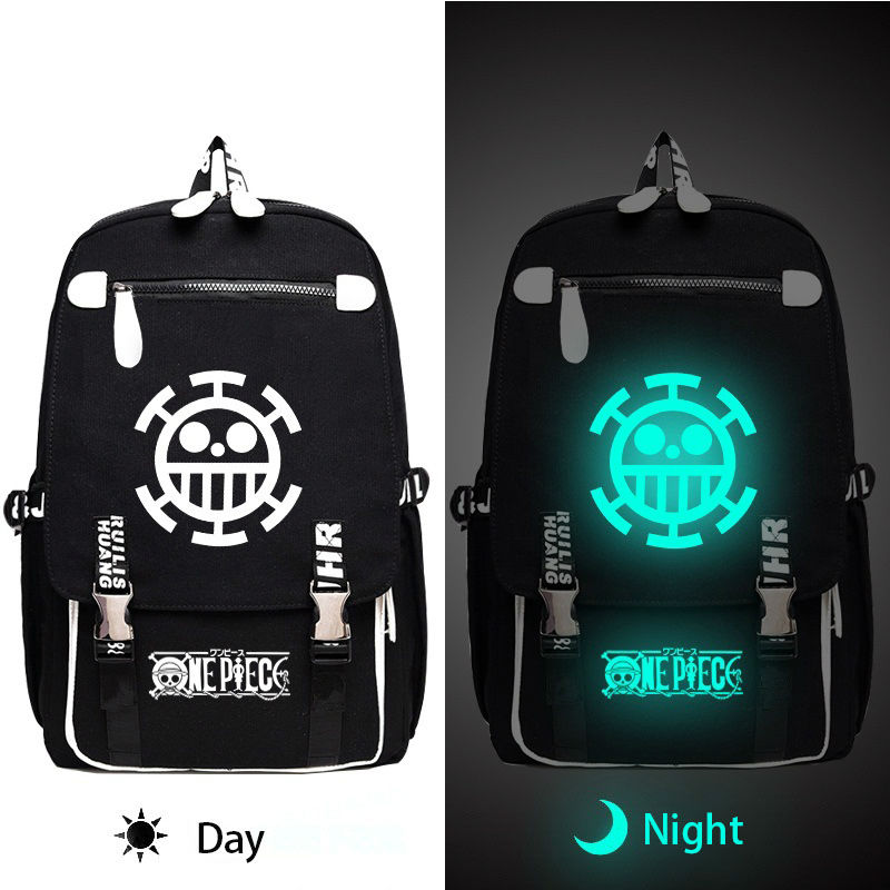 One Piece Law Luminous Backpack Women Men Canvas Backpack Daily Laptop Bag for Teenagers Students Large Travel BagsOne Piece Law Luminous Backpack Women Men Canvas Backpack Daily Laptop Bag for Teenagers Students Large Travel Bags