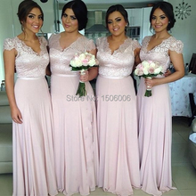 Cheap New Cap sleeves Bridesmaid Dresses A-Line Formal Prom Party Gown 2016 Special Wedding Dresses Maid Of Honor Gowns XA024