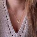 Female Girl Fresh womens clothing accessories one layer gold round loop pendant  chunky summer chain necklace my orders