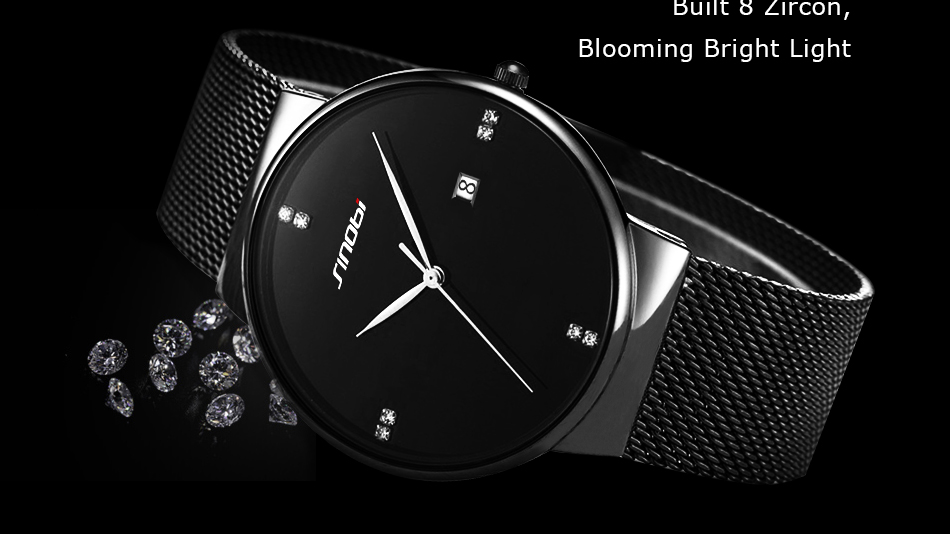 SINOBI Men Quartz Watch Luxury Top Brand Fashion Mesh Delicate Ultra-thin Business Watch Full Stainless Steel Male Wrist Watches 7