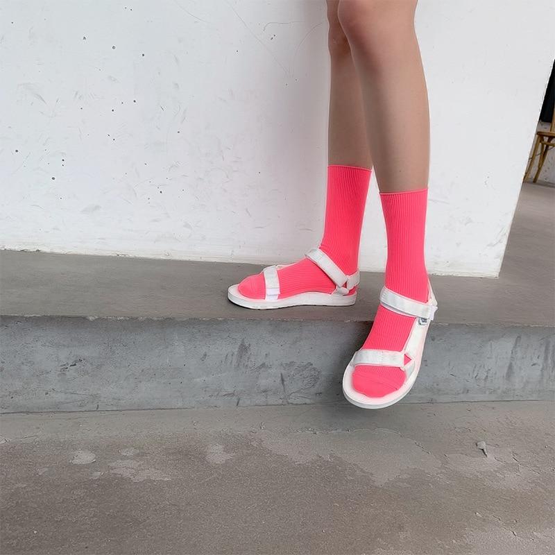 BKLD Spring Summer Funny Socks Women Harajuku Streetwear Neon Socks 2019 Fashion New Solid Candy Color Unisex Men Women Socks