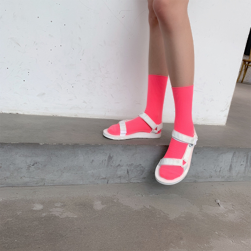 BKLD Spring Summer Funny   Socks   Women Harajuku Streetwear Neon   Socks   2019 Fashion New Solid Candy Color Unisex Men Women   Socks