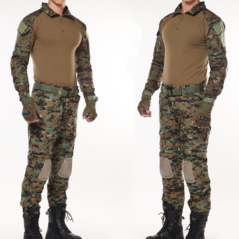Woodland Jungle Camouflage Hunting Clothes Army Uniform Men Camo Airsoft Sniper Tactical Shirt Pants Combat BDU