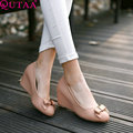 QUTAA Pink Fashion Summer PU leather Women Pumps Platform Wedge High Heel Round Toe Bow Tie Female Casual Shoe Size 34-42