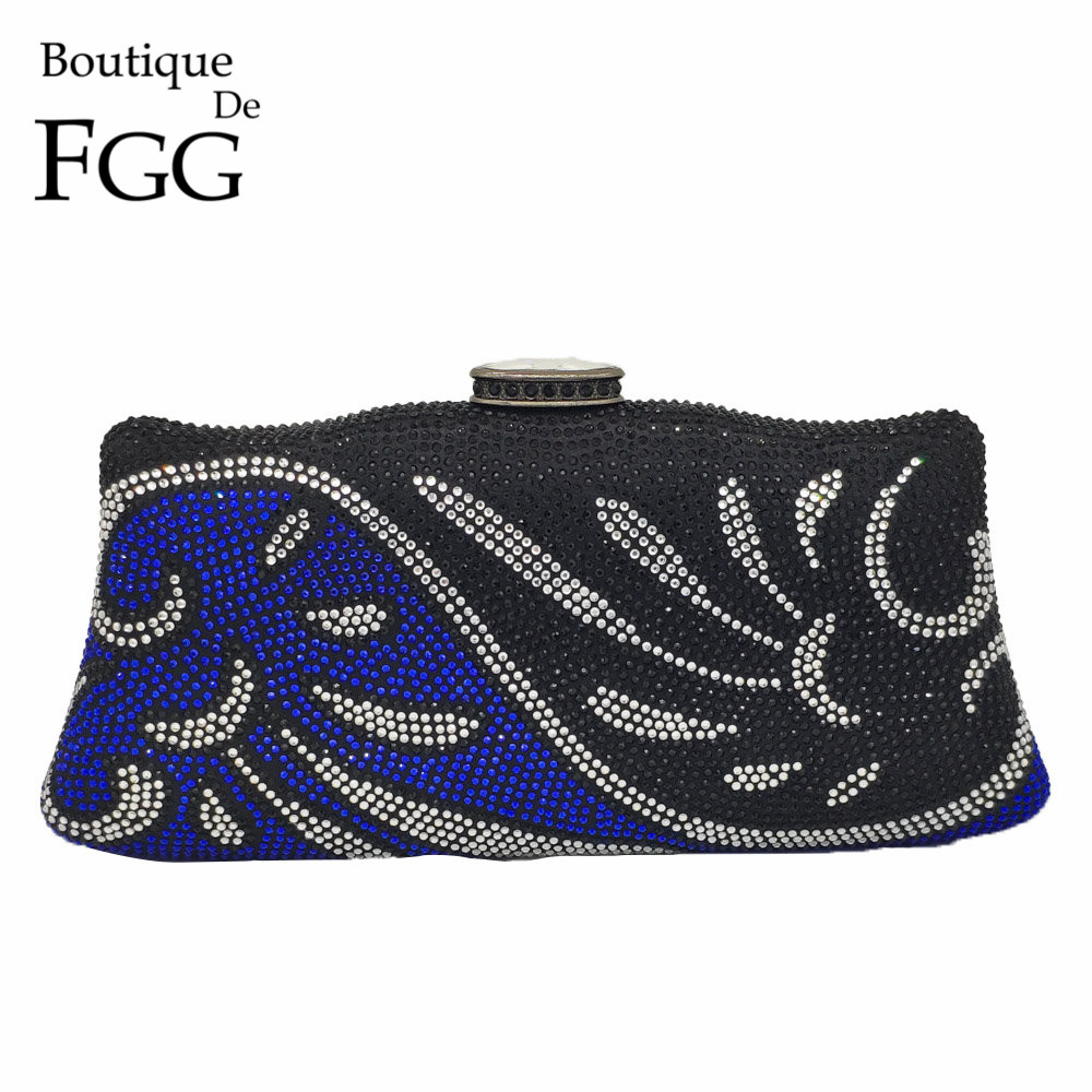Boutique De FGG Women Flower Evening Bags Crystal Floral Wedding Handbags and Purses Ladies Party Diamond