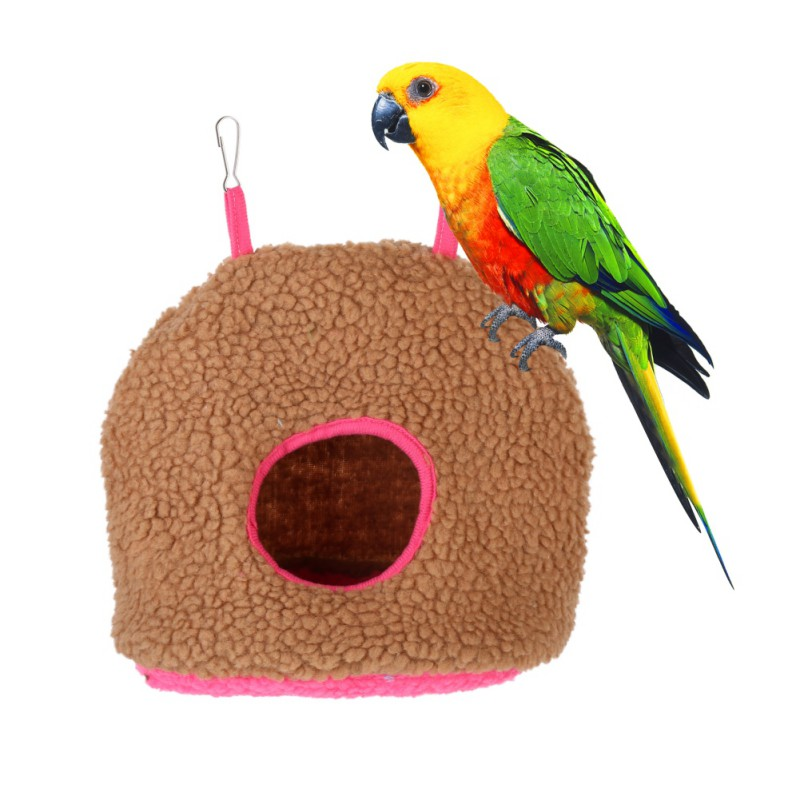 Soft Plush Bird Parrot Hammock Warm Hanging Bed For Pet Cave Cage Hut Tent Toy House Bird Parrot Comfortable Hammock Bed Toys