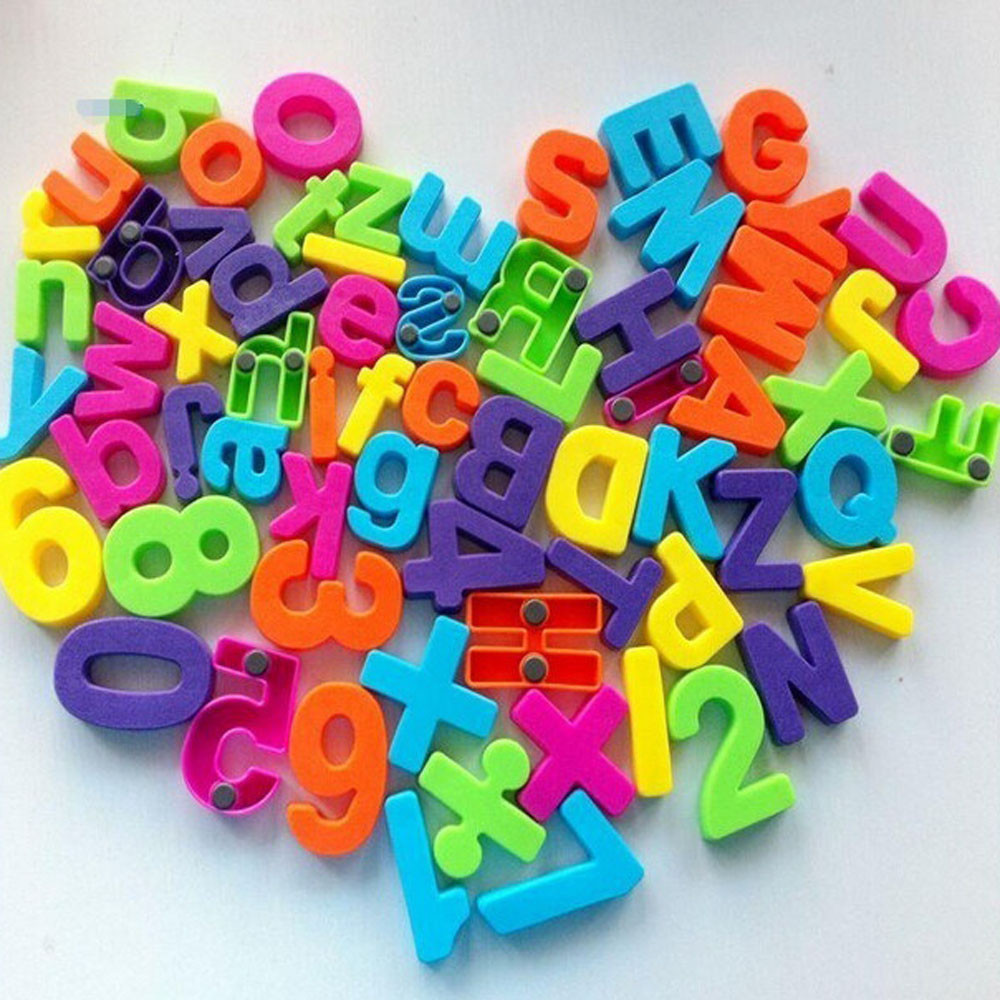 26 Pcs/Set Colorful Fridge Magnet Stickers Plastic 3D Teaching Number Alphabet Home Creative Decor Gift F115Free Shipping