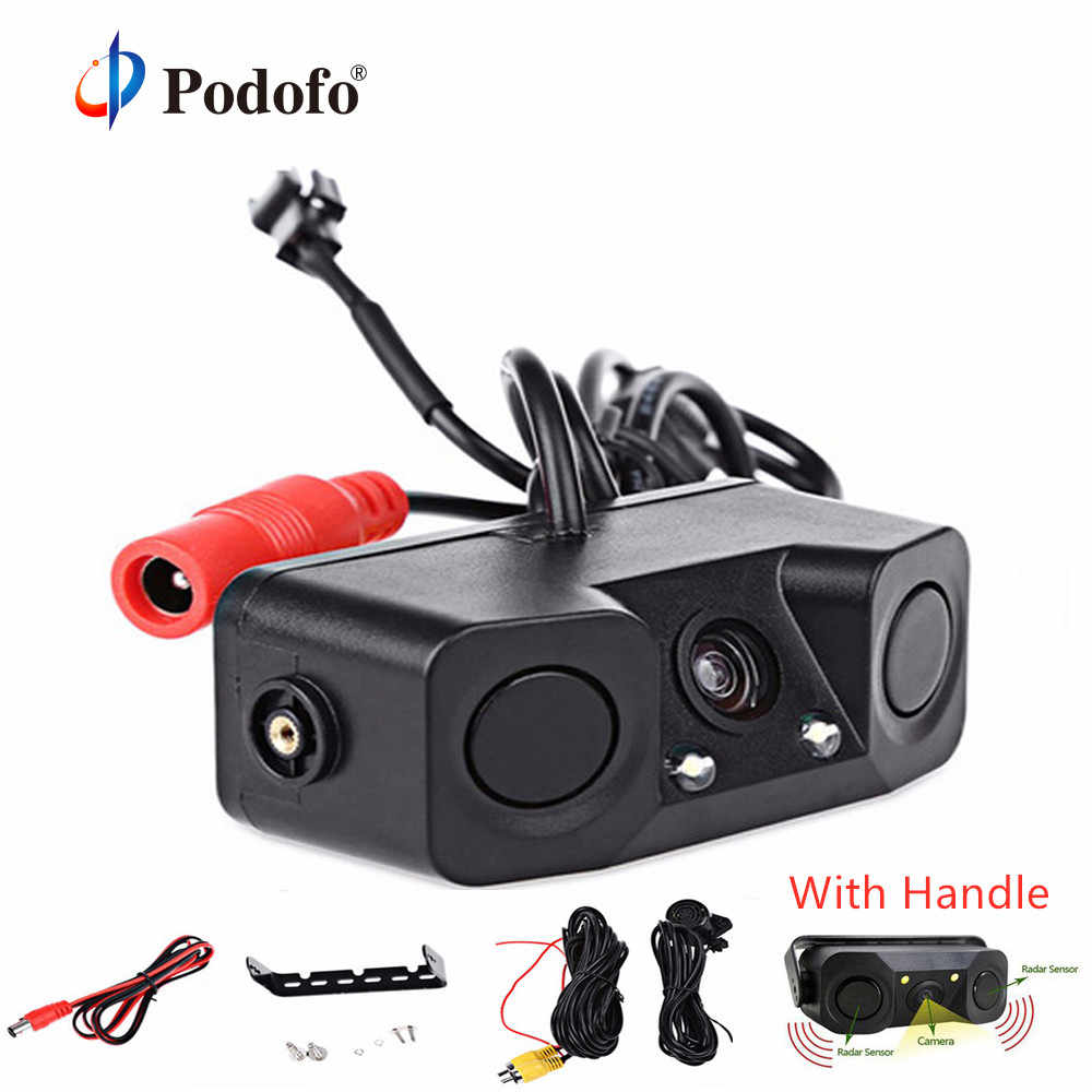 Podofo 2 in 1 Radar Detector Sensor Sound Alarm Parking Assistant System Car Reverse Backup LED Rear View Camera Night Vision