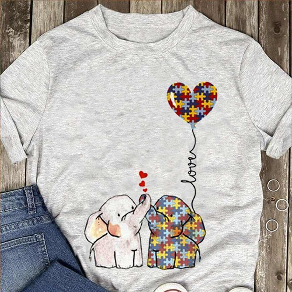 Аутизм слон любовь футболка осознание аутизма рубашка пепел хлопок мужчины S-3Xl 2019 мода короткий рукав черная футболка Молодежная Футболка